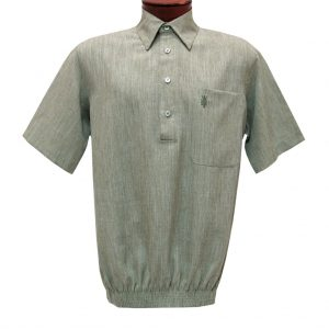 Men's D'Accord Banded Bottom Short Sleeve Linen Look Shirt, #6441 Sage Heather (SOLD OUT!)