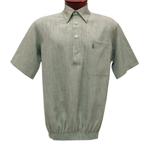 Men's D'Accord Banded Bottom Short Sleeve Linen Look Shirt, #6441 Sage Heather