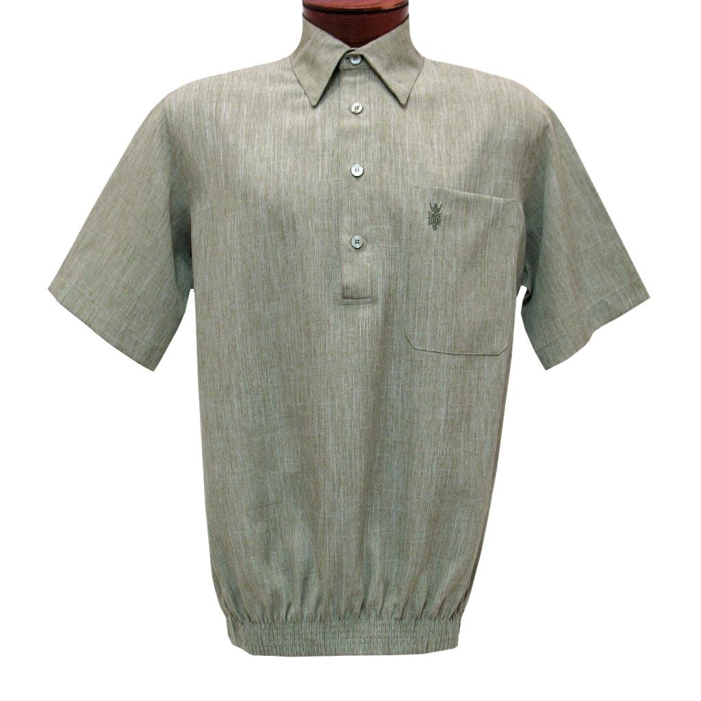Men's D'Accord Banded Bottom Short Sleeve Linen Look Shirt, #6441 Sage Heather