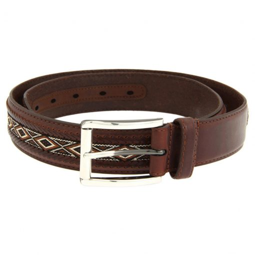 Men's Brighton Mesquite Diamond Leather Belt Brown #M21345