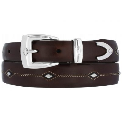 Men's Brighton Denver Diamond Leather Belt, Brown #P3507