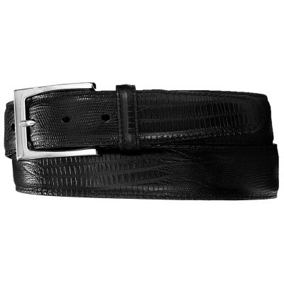 Men's Brighton Toledo Lizard Leather Belt, #M11143 Black