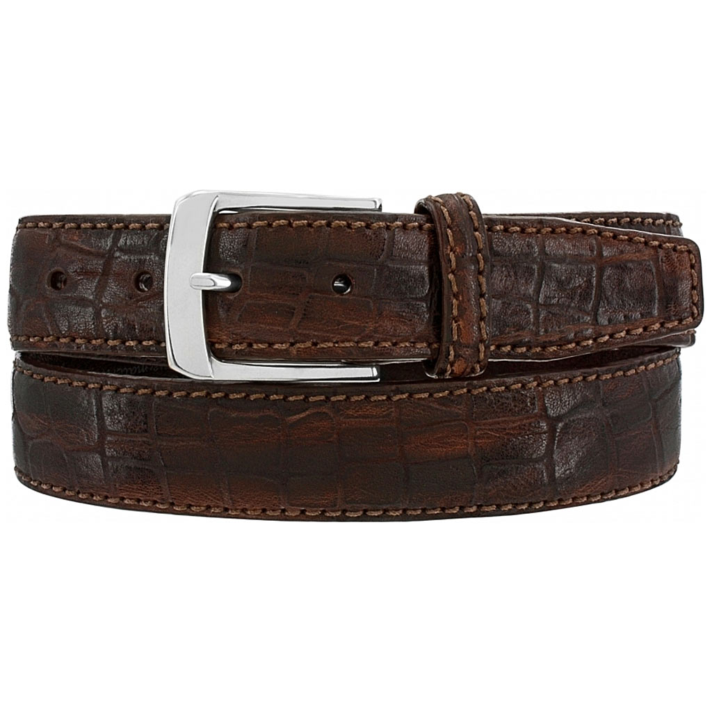 Men's Brighton Escape Croco Leather Belt, #M21538 Brown