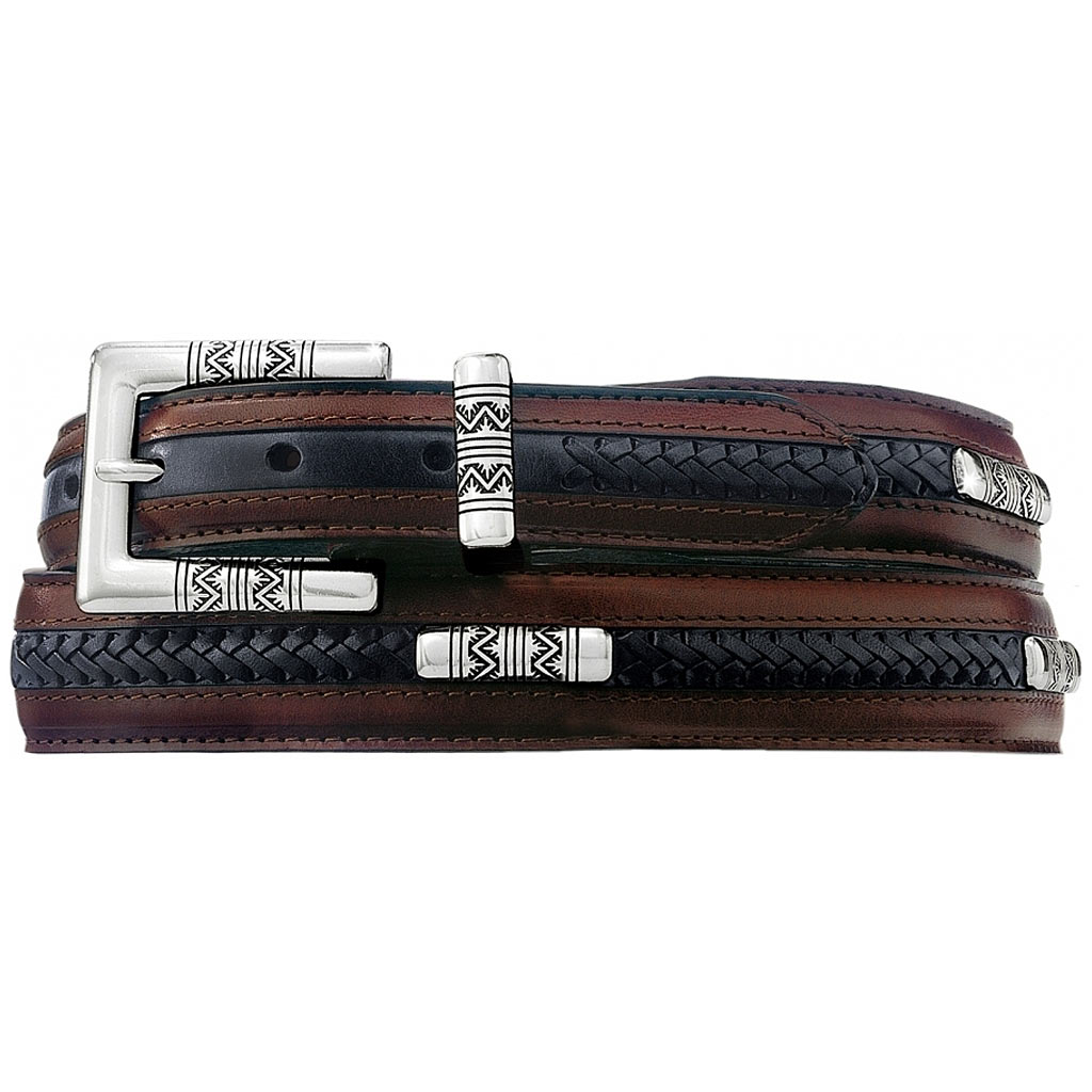 Men's Brighton Navajo Ornament Taper Belt, Black/Brown #M40120