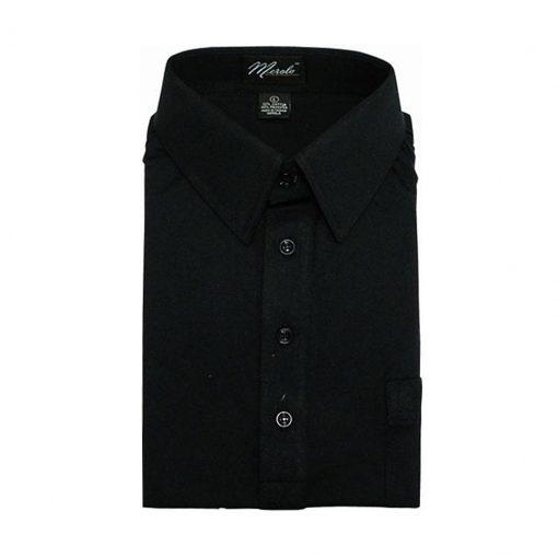 Men's Merola Short Sleeve Knit Hard Collared Shirt Black