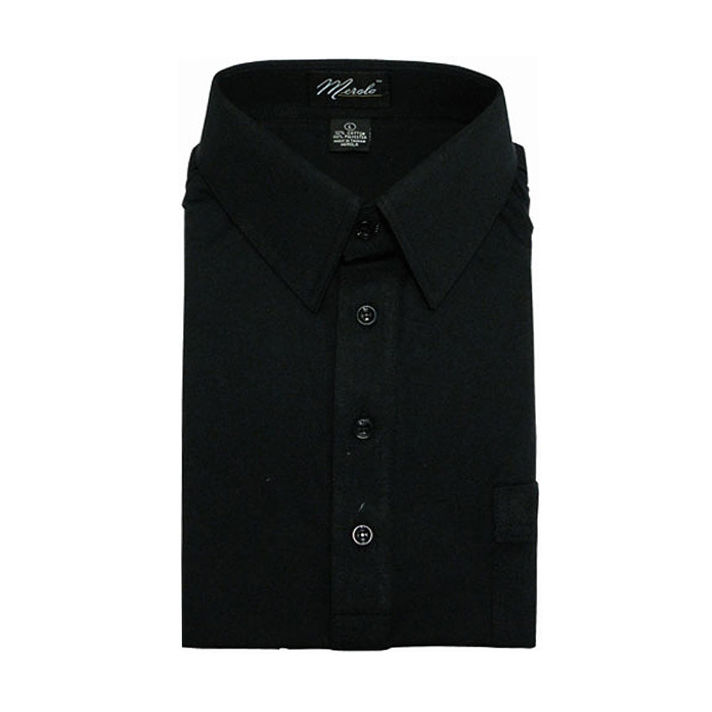 Men 39 s merola short sleeve knit hard collared shirt black for Mens black short sleeve dress shirt