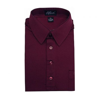 Men's Merola Short Sleeve Knit Hard Collared Shirt Burgundy