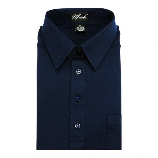 Men's Merola Short Sleeve Knit Hard Collared Shirt Navy