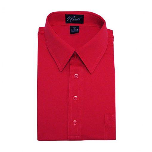 Men's Merola Short Sleeve Knit Hard Collared Shirt Red