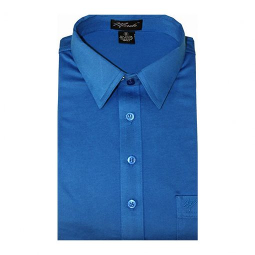 Men's Merola Short Sleeve Knit Hard Collared Shirt Royal