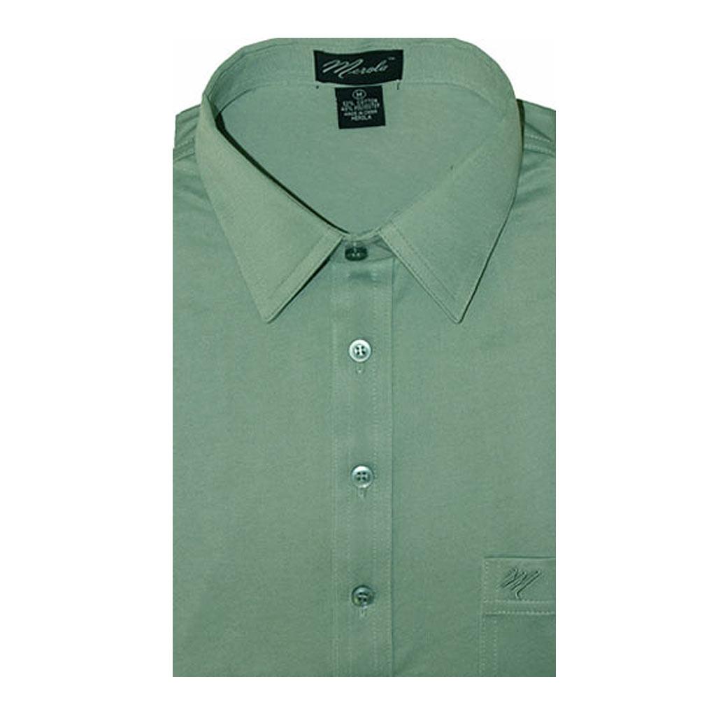 Mens Merola Short Sleeve Knit Hard Collared Shirt Sage Richard