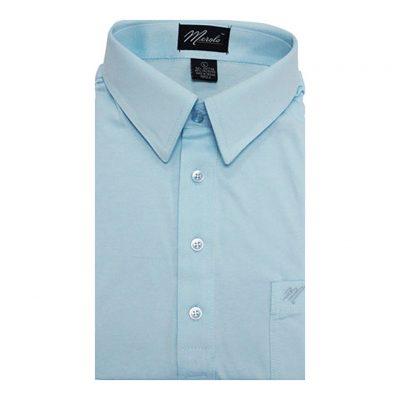 Men's Merola Short Sleeve Knit Hard Collared Shirt Sky Blue