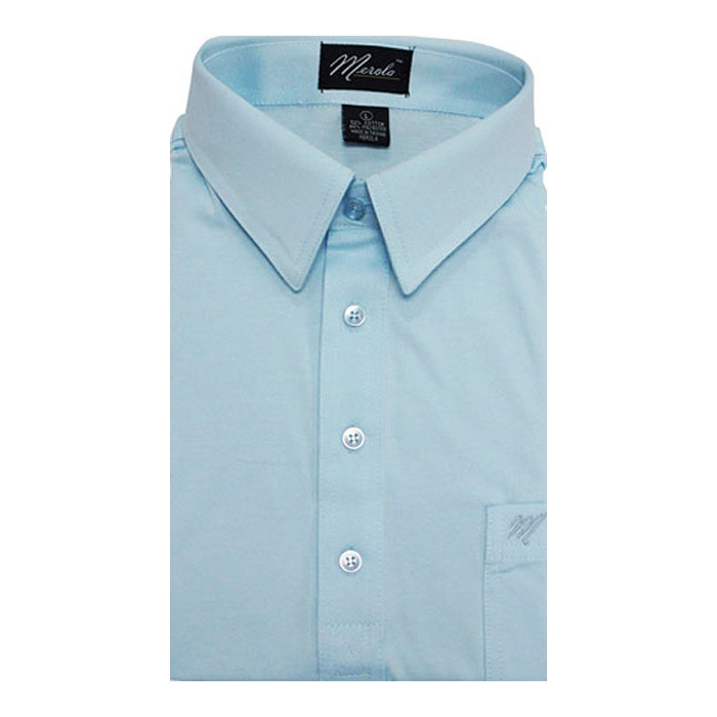 Men's Merola Short Sleeve Knit Hard Collared Shirt Sky Blue