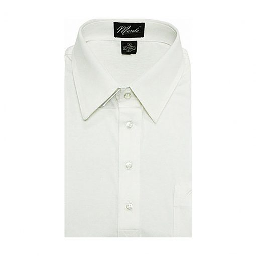 Men's Merola Short Sleeve Knit Hard Collared Shirt White
