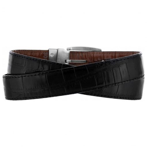Men's Brighton Reversible Croco Belt, Black To Peanut #30090