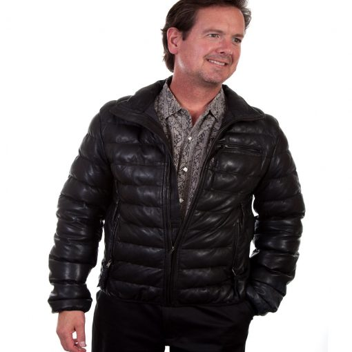 Scully® Men's Comtemporary Ribbed Soft Lambskin Leather Jacket #512 Black