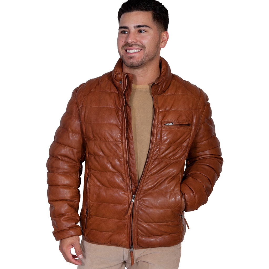 Scully® Men's Comtemporary Ribbed Soft Lambskin Leather Jacket #512 Cognac