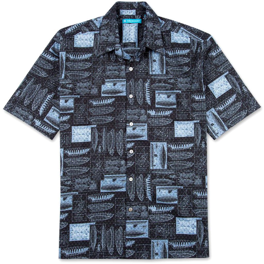 Men's Tori Richard® Cotton Lawn Short Sleeve Shirt Hull of Fame #6894 Black
