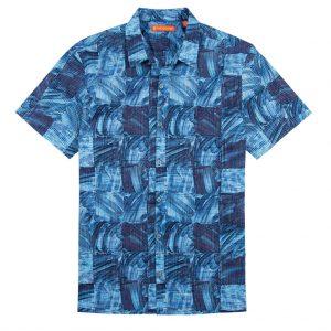Men's Tori Richard® Cotton Lawn Short Sleeve Shirt, Obscura #6373 Navy (L, ONLY!)