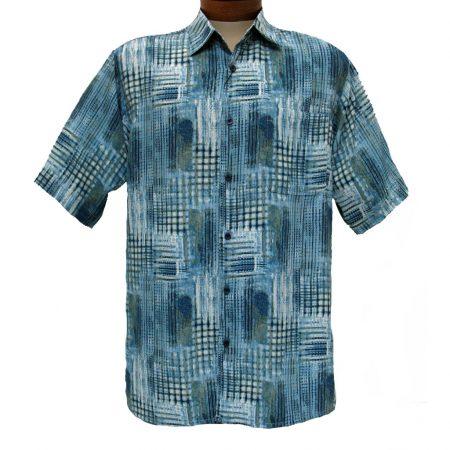 Men's Bassiri® Short Sleeve Button Front Microfiber Sport Shirt #3851 Blue