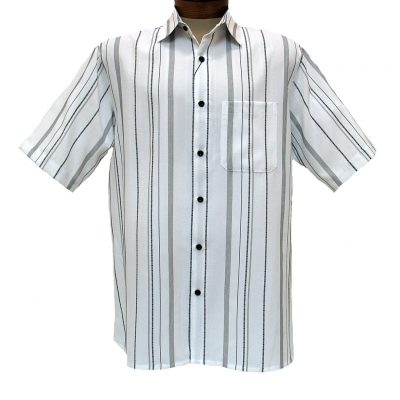 Men's Bassiri® Short Sleeve Button Front Microfiber Sport Shirt #46681 White