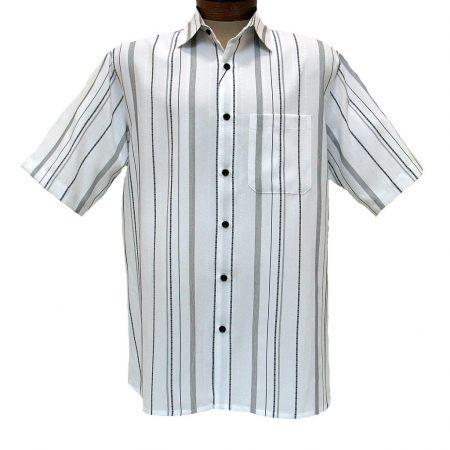 Men's Bassiri® Short Sleeve Button Front Microfiber Sport Shirt #46681 White