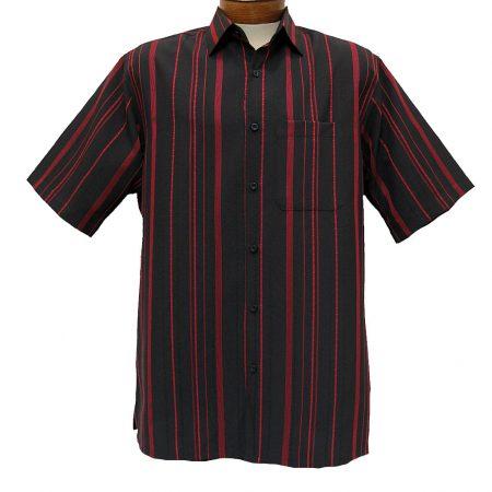 Men's Bassiri® Short Sleeve Button Front Microfiber Sport Shirt #46681 Black