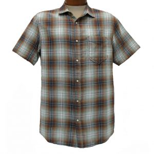 Men's Jeremiah® Short Sleeve 100% Cotton Reversible Print With Plaid Sport Shirt, Badlands – Click Here To See Shirt Reversed!