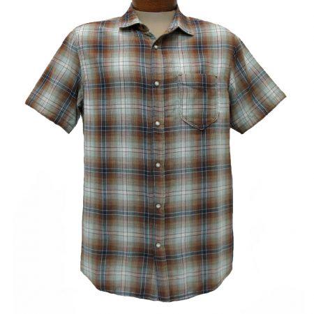 Men's Jeremiah® Short Sleeve 100% Cotton Reversible Print With Plaid Sport Shirt, Badlands Ore