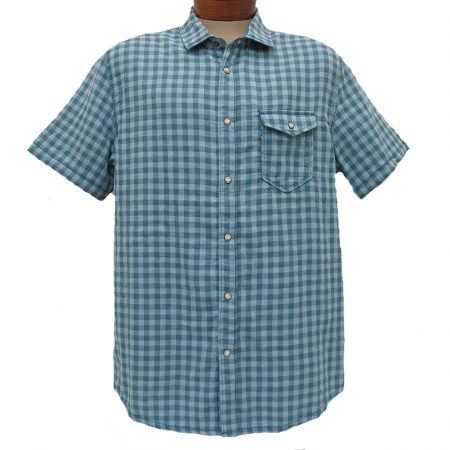 Men's Jeremiah® Short Sleeve Yarn Dyed 100% Cotton Reversible Melange Gauze Sport Shirt, Graham - Captain Heather