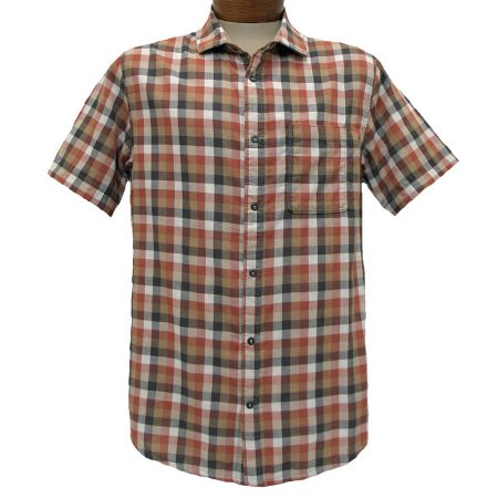Men's Jeremiah® Short Sleeve 100% Cotton Reversible Plaid With Print Sport Shirt, Nomad Cajun