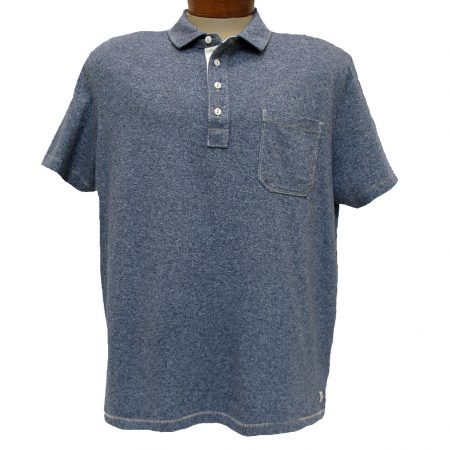 Men's Jeremiah® Short Sleeve 100% Cotton Twist Yarn Jersey Polo With Pocket, Dixon Crown Blue