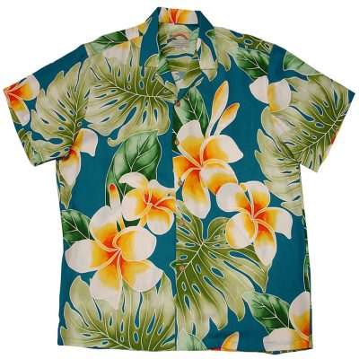Men's Paradise Found® Aloha Short Sleeve Camp Shirt, Plumeria Beauty Jade