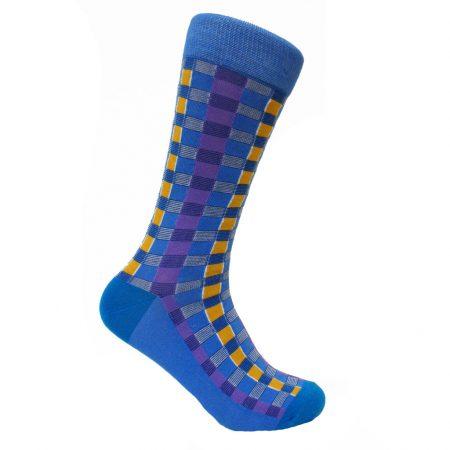 Men's Steven Land® Cotton Blend Fancy Socks #SO1729 Blue