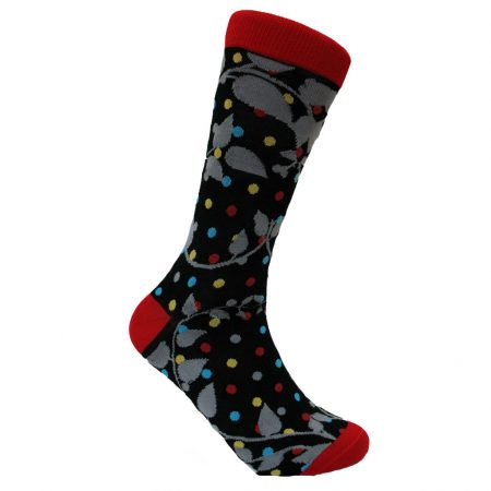 Men's Steven Land® Mercerized Cotton Blend Fancy Socks #SOE308 Black/Red