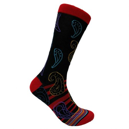 Men's Steven Land® Mercerized Cotton Blend Fancy Socks #SOE316 Red/Black