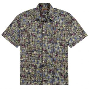 "Men's Tori Richard® Cotton Lawn Short Sleeve Shirt, Geoglyphic #6375 Black ""USE COUPON TR1 WHEN YOU CHECK OUT"""