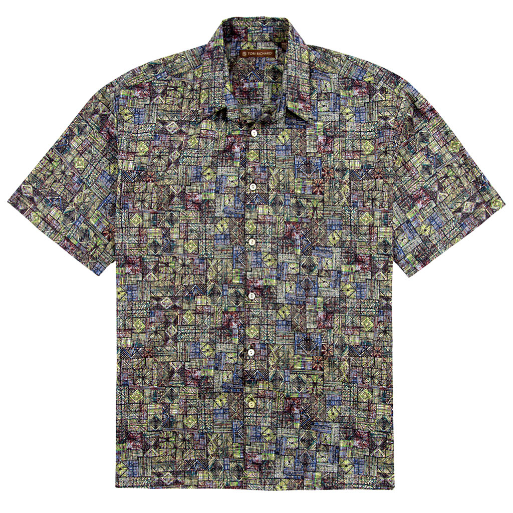 Men's Tori Richard Cotton Lawn Relaxed Fit Short Sleeve Shirt, Geoglyphic #6375 Black