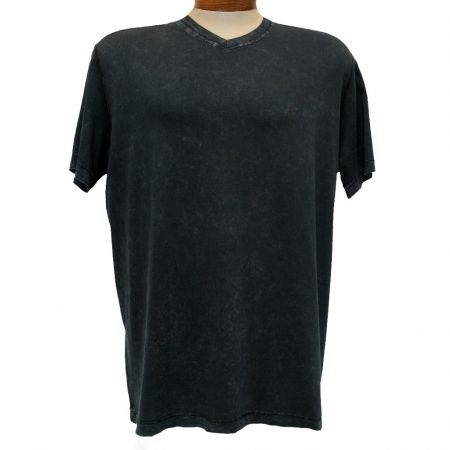Men's Minerals® Short Sleeve Mineral Wash Pima Cotton V-Neck Tee 1003PJ Black