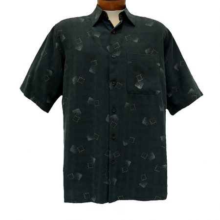 Men's Sangi By Bassiri® Short Sleeve Button Front Modal Blend Sport Shirt #S3841 Black