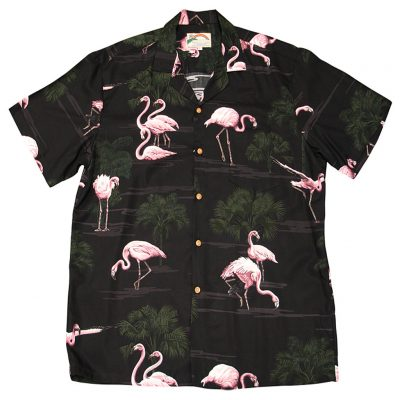 Men's Paradise Found® Aloha Short Sleeve Camp Shirt, Flamingo Black