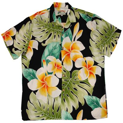 Men's Paradise Found® Aloha Short Sleeve Camp Shirt, Plumeria Beauty Black