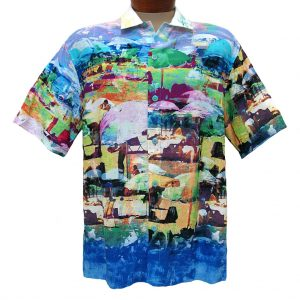 Men's Jams World® Short Sleeve Crushed Rayon Retro Shirt – Cote D'Azur