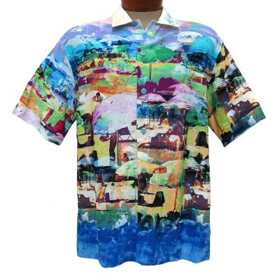 Men's Jams World® Short Sleeve Crushed Rayon Retro Shirt - Cote D'Azur