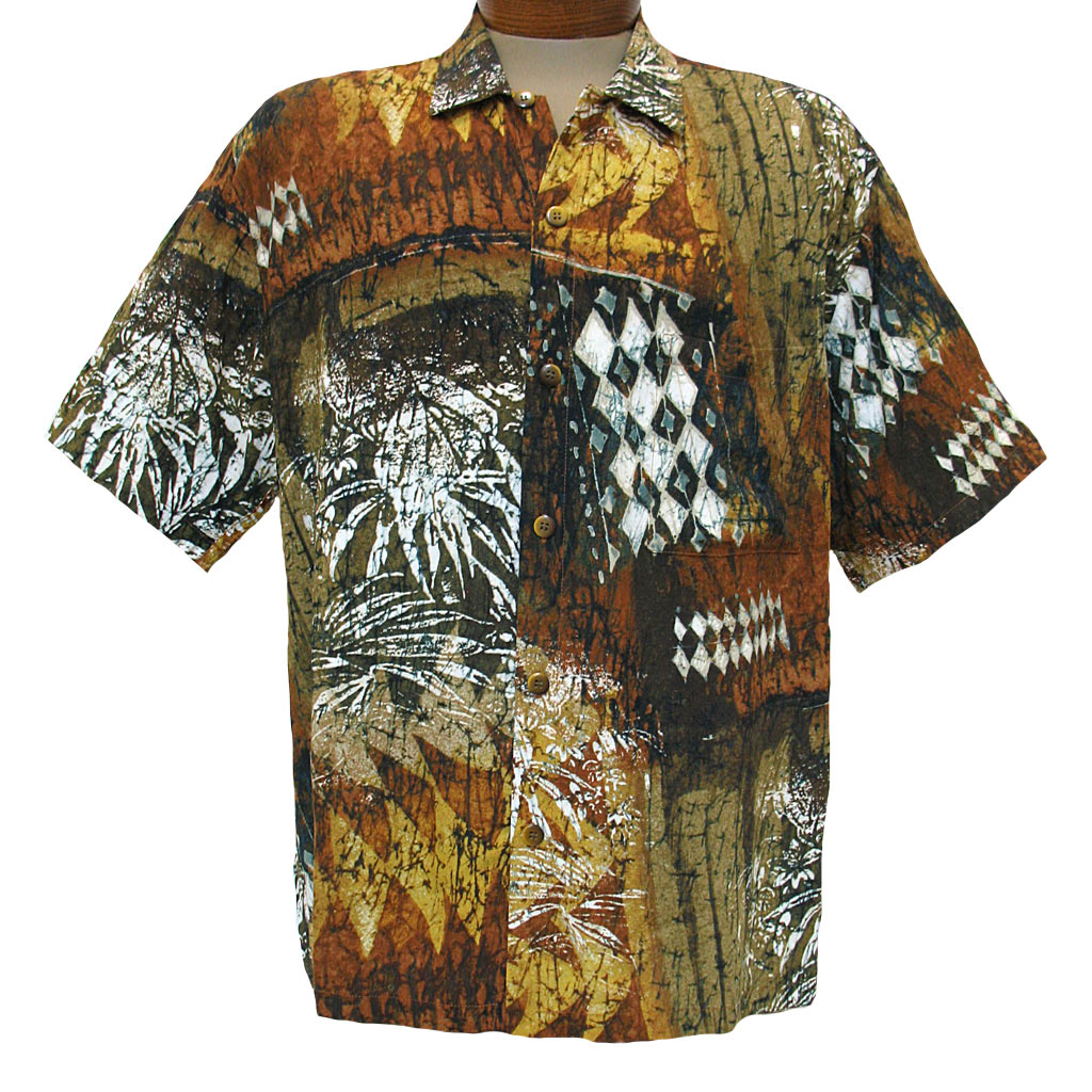 Men's Jams World® Short Sleeve Crushed Rayon Retro Shirt - TapaJ Brown