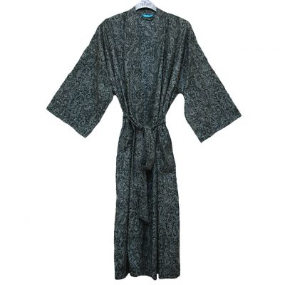 Men's Tori Richard® Cotton Lawn Robe Brad Paisley, #1601-6996 Black