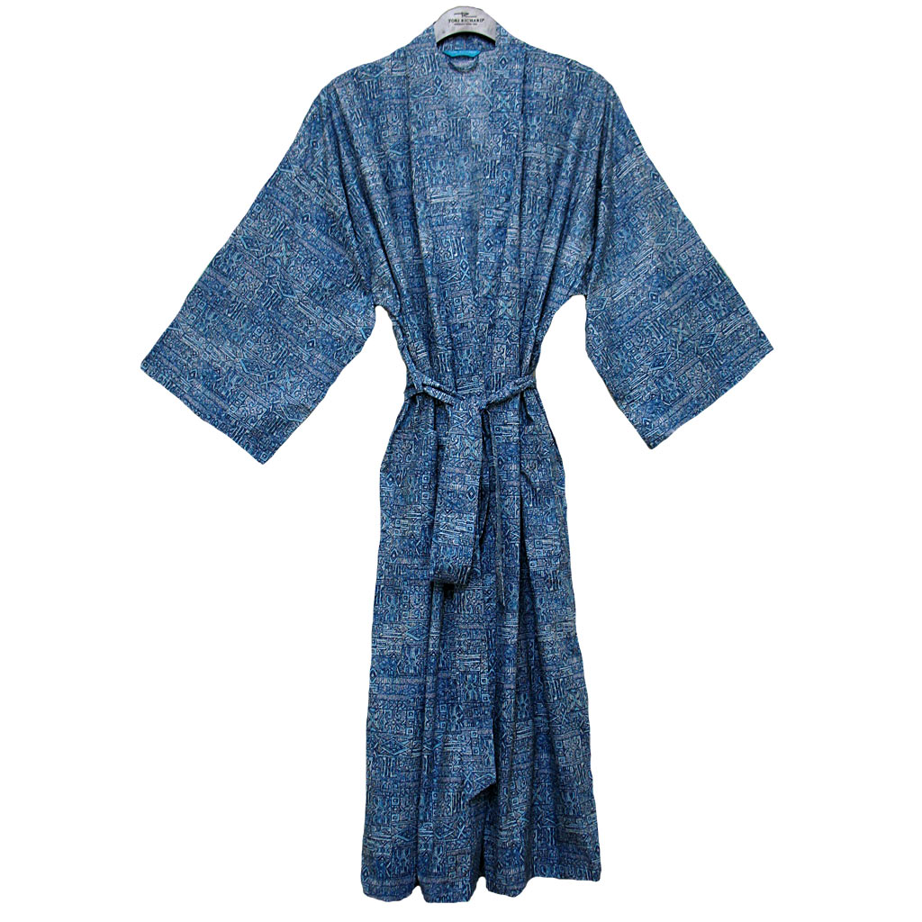 Men's Tori Richard® Cotton Lawn Robe Maze Runner, #1601-6977 Ocean Blue