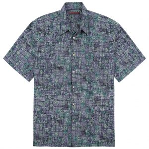 Men's Tori Richard Cotton Lawn Relaxed Fit Short Sleeve Shirt, Geoglyphic #6375 Iris (SALE ENDS, 11/17/18)