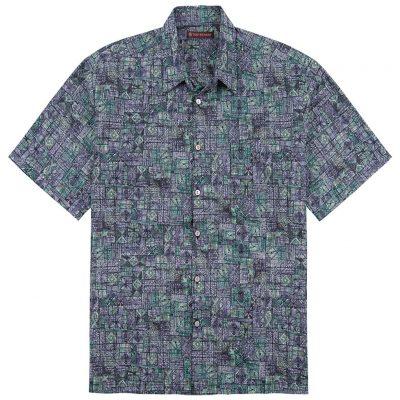 Men's Tori Richard® Cotton Lawn Short Sleeve Shirt, Geoglyphic #6375 Iris