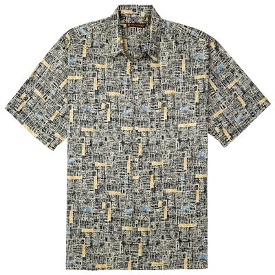 Men's Tori Richard® Cotton Lawn Short Sleeve Shirt, Jasper #6394 Black
